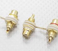 Позолоченные красный / желтый / белый AV Заглушки (3шт / комплект)