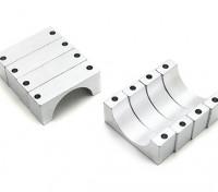 Серебряный анодированный CNC полукруг сплава пробки Зажим (incl.screws) 22мм (10мм Двухсторонняя)
