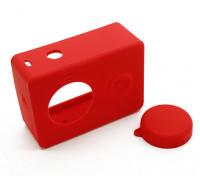 Силиконовый защитный чехол и крышка объектива для Xiaoyi Action Camera (Красный)