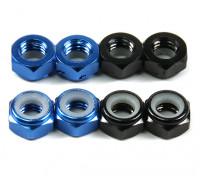 Алюминий Low Profile Nyloc Гайка M5 (4 Black & CW 4 Blue КОО)