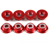 Алюминиевый фланец Низкопрофильные Nyloc гайка M5 Красный (КОО) 8шт