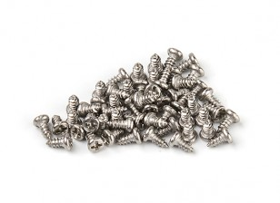 DC Chequered Flag 1:10 Scale Cross-Head 4mm Screws - Silver (50pcs)