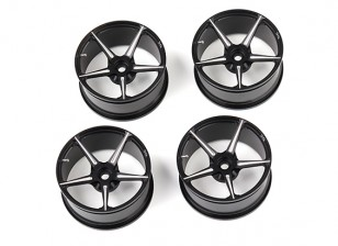 DC Chequered Flag 1:10 Scale 5 Spoke 52mm Alloy Wheels Black/Silver (4pcs)