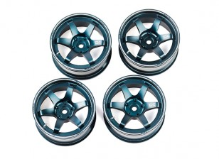 "DC Chequered Flag 1:10 6 Spoke 2"" Alloy Drift Hub Wheels Blue/Silver (4pcs)"
