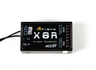 FrSky X8R 8/16Ch S.Bus ACCST Telemetry Receiver- Front View