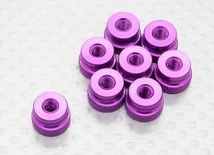 Knurled сплава Защелка Гайка M4 анодированный Фиолетовый (8pc)