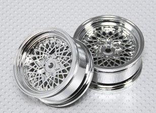 Масштаб 1:10 Набор колес (2шт) Chrome 'Hot Wire' RC автомобилей 26мм (без смещения)