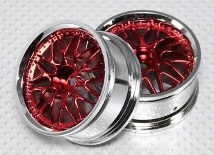 Масштаб 1:10 Набор колес (2шт) Красный / Хром Split 10-спицевые RC автомобилей 26мм (без смещения)
