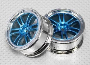 Набор 1:10 Масштаб колеса (2шт) хром / синий Split 6-спицевые RC автомобилей 26мм (без смещения)