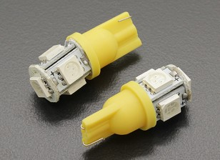 Мозоли СИД Свет 12V 1.0W (5 LED) - желтый (2 шт)