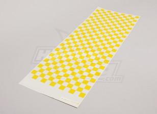 Декаль лист Малый Chequer шаблон желтый / Clear 590mmx180mm