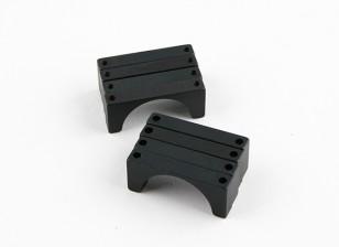 Черный анодированный Двухсторонний CNC алюминиевая труба зажим 25 мм Диаметр