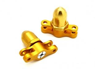2 мм 2 лезвия CNC Складной пропеллер адаптер CW & КОО (Gold)