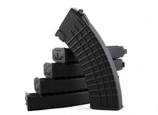King Arms 600rounds Вафельные шаблонных журналы для Marui AK AEG (черный, 5pcs / коробка)