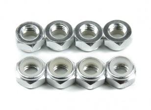 Алюминий Low Profile Nyloc Гайка M5 Silver (CW) 8шт