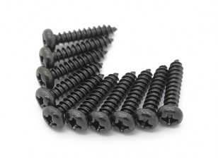 Screw Round Head Phillips M3x14mm Self Tapping Steel Black (10pcs)