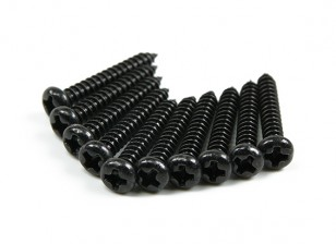 Screw Round Head Phillips M3x20mm Self Tapping Steel Black (10pcs)