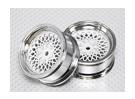 Масштаб 1:10 Набор колес (2шт) хром / белый 'Hot Wire' RC автомобилей 26мм (без смещения)