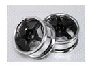 Масштаб 1:10 Wheel Set (2pcs) Хром / Черный 5-спицевые RC автомобилей 26мм (без смещения)