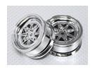 Масштаб 1:10 Набор колес (2шт) Chrome Retro 7-спицевые RC автомобилей 26мм (без смещения)