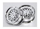 Масштаб 1:10 Wheel Set (2pcs) Белый / Хром Split 10-спицевые RC автомобилей 26мм (без смещения)