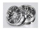 Масштаб 1:10 Набор колес (2шт) Chrome Split 5-спицевые RC автомобилей 26мм (3 мм смещение)