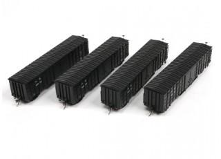 P64K Box Car (Ho Scale - 4 Pack) Black Set 2 x 4