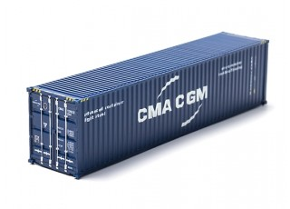 HO Scale 40ft Shipping Container (CMA CGM) rear view