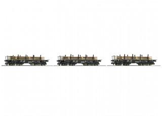 Roco/Fleischmann TT Gauge 3 Piece Heavy Duty Flat Wagon DR