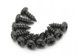 Screw Round Head Phillips M4x10mm Self Tapping Steel Black (10pcs)