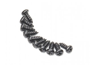 Screw Round Head Phillips M2.6x6mm Self Tapping Steel Black (10pcs)