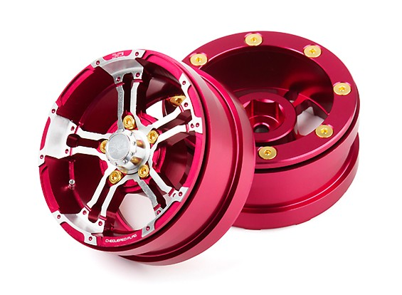"""DC Chequered Flag 1:10 5 Spoke 1.9"""" Alloy Wheels Silver/Red (2pcs)"""