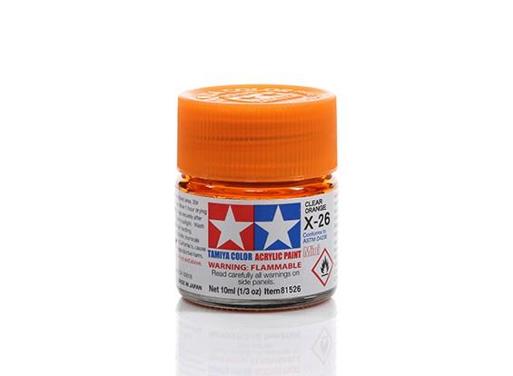 Tamiya X-26 Clear Orange Mini Acrylic Paint (10ml)