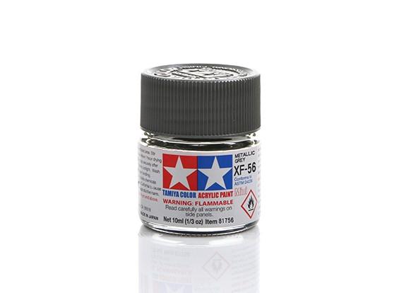 Tamiya XF-56 Flat Metallic Grey Mini Acrylic Paint (10ml)