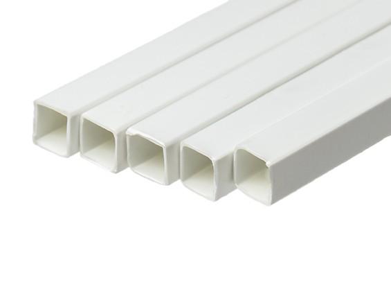ABS Square Tube 10.0mm x 10.0mm x 500mm White (Qty 5)