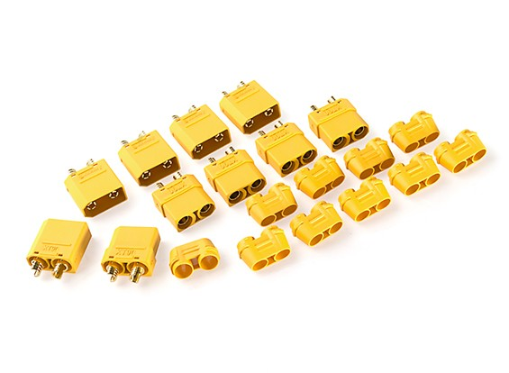 Nylon XT90 Connectors Male / Female With End Cap (5 sets) Yellow