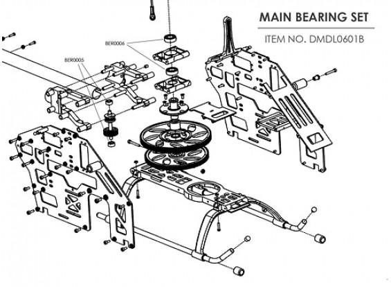 Ceramic bearing upgrade kit for HK-500 (Main Frame)
