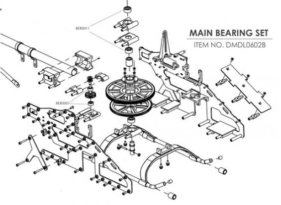 Ceramic bearing upgrade kit for HK-450 (Main Frame)