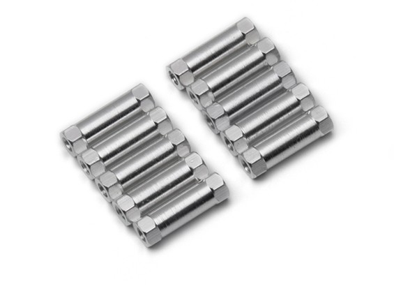 Lightweight Aluminium Round Section Spacer M3x17mm (Silver) (10pcs)