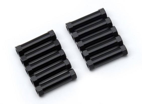 Lightweight Aluminium Round Section Spacer M3x20mm (Black) (10pcs)
