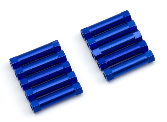 Lightweight Aluminium Round Section Spacer M3x22mm (Blue) (10pcs)