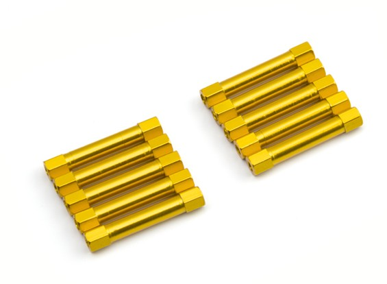 Lightweight Aluminium Round Section Spacer M3x30mm (Gold) (10pcs)