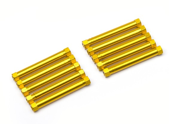 Lightweight Aluminium Round Section Spacer M3x38mm (Gold) (10pcs)