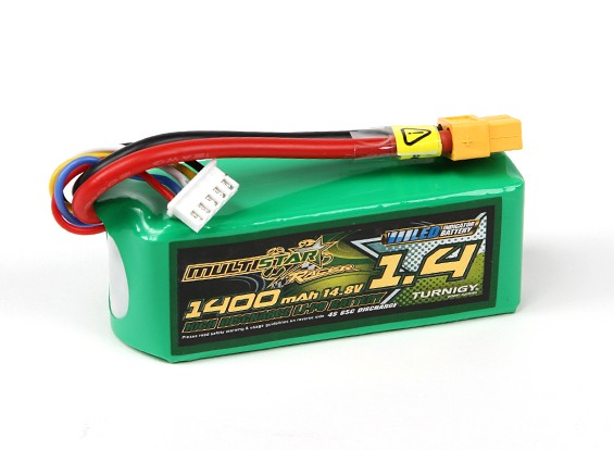 MultiStar 1400mAh 4S 65C Multi-Rotor Lipo Pack (with LED indicator)