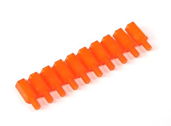 Nylon Spacer 10mm M3 M/F Orange (10pcs)