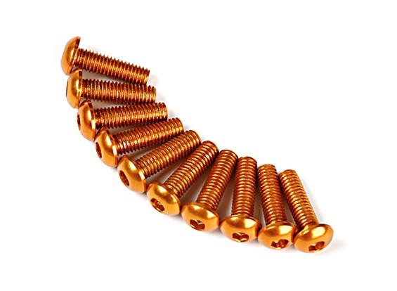 Screw Round Head Hex M3 x 10mm 7075 Aluminium Gold (10pcs)