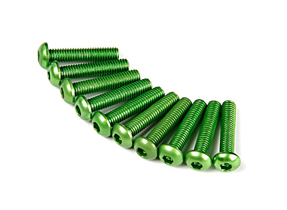 Screw Round Head Hex M3 x 14mm 7075 Aluminium Green (10pcs)