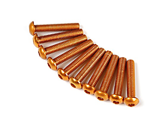 Screw Round Head Hex M3 x 16mm 7075 Aluminium Gold (10pcs)