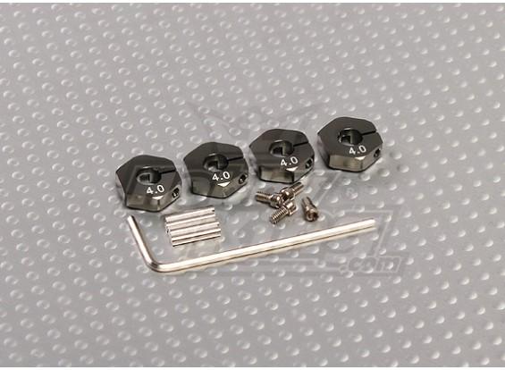 Titanium Color Aluminum Wheel Adaptors with Lock Screws - 4mm (12mm Hex)
