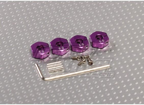 Purple Aluminum Wheel Adaptors with Lock Screws - 5mm (12mm Hex)